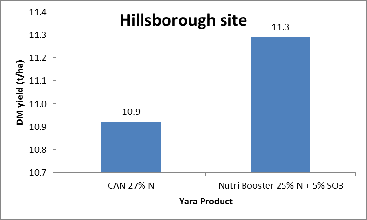 Effect of sulphur on dry matter yield - Hillsborough trial site