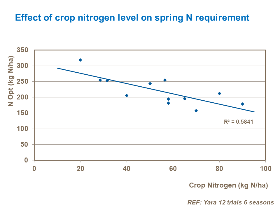 Effect of crop nitrogen level on spring N requirement